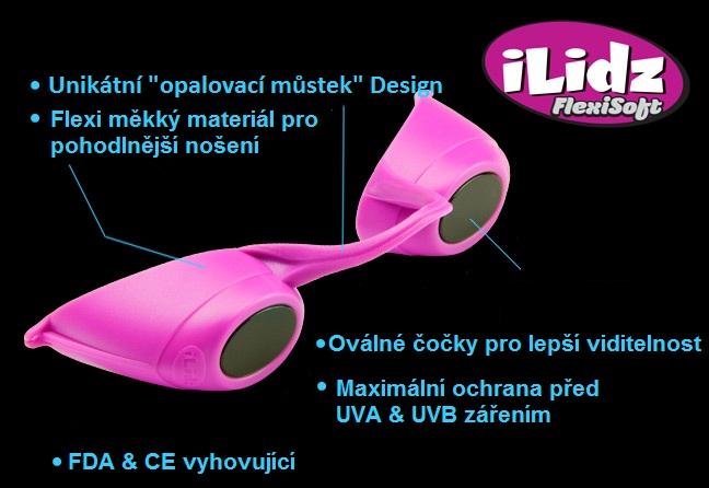 """iLidz FlexiSoft - Brýle do solária s unikátním """"opalovacím můstkem"""" designem"""